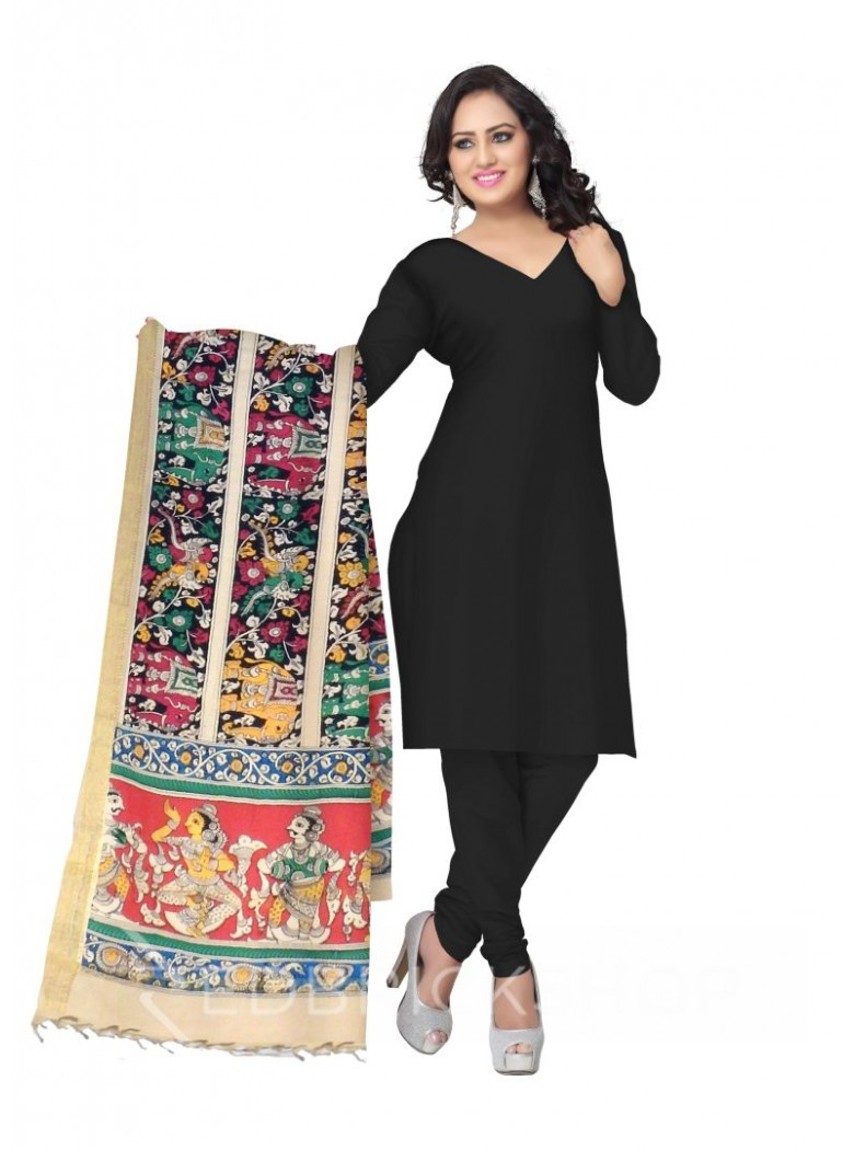 KALAMKARI (PEN) ELEPHANT ROWS BLACK, PINK, GREEN COTTON DUPATTA