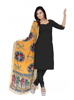 KALAMKARI (PEN) CIRCLE SHRUB YELLOW, RED COTTON DUPATTA