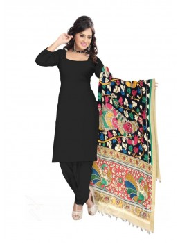 KALAMKARI (PEN) DANCING GIRL BLACK, PINK, GREEN COTTON DUPATTA