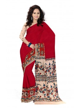 KALAMKARI PLAIN TARGET ARROW BORDER MAROON, RED, BLUE, YELLOW, CREAM COTTON SAREE