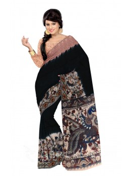 KALAMKARI PLAIN DANCING GIRLS BORDER BLACK, RED, BLUE, YELLOW, GREEN COTTON SAREE