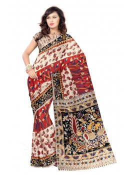 KALAMKARI CIRCLE LOTUS BUD RED, BLUE, YELLOW, BLACK, CREAM COTTON SAREE