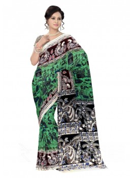 KALAMKARI PEOPLE HUT GREEN, BROWN, ROSE, PINK, BLUE, CREAM COTTON SAREE