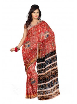 KALAMKARI WARLI RED, BLUE, MUSTARD, YELLOW COTTON SAREE