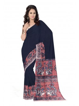 KALAMKARI PLAIN PEACOCK POLKA BORDER NAVY, BLUE, RED, CREAM COTTON SAREE