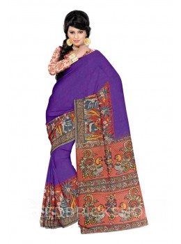 KALAMKARI PLAIN DEER PALM ELEPHANT BORDER PURPLE, RED, YELLOW, CREAM, BLUE, COTTON SAREE