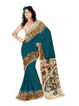 KALAMKARI PLAIN FLORAL BIRD BORDER AQUAMARINE GREEN, RED, BLUE, YELLOW, CREAM COTTON SAREE
