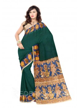 KALAMKARI PLAIN FACES BORDER DARK GREEN, BLUE, MUSTARD, YELLOW, CREAM, RED COTTON SAREE