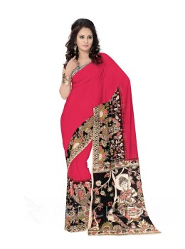 KALAMKARI PLAIN DANCING GIRL MAROON, BLACK COTTON SAREE