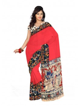 KALAMKARI PLAIN PICTURE GIRL RED, BLACK COTTON SAREE