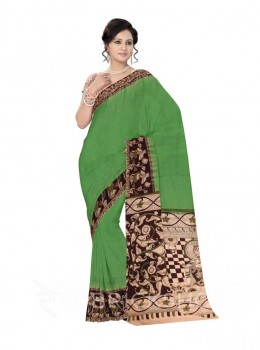 KALAMKARI PLAIN LOTUS WOMAN LIGHT GREEN, BROWN COTTON SAREE