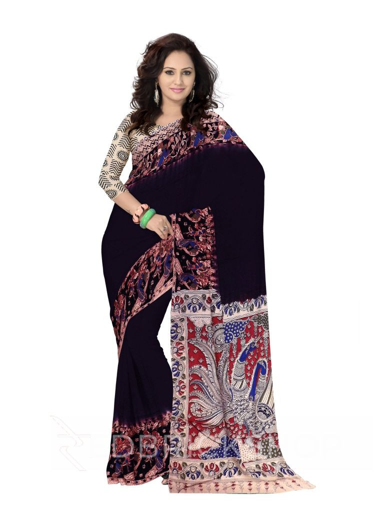 KALAMKARI PLAIN GIRL MATKA DARK PURPLE, BLACK COTTON SAREE
