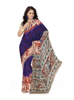 KALAMKARI PLAIN GIRL DHOLKI PURPLE, RED COTTON SAREE