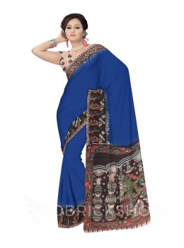 KALAMKARI PLAIN LOTUS WOMAN BLUE, MAROON COTTON SAREE