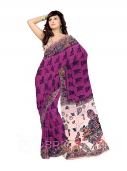 KALAMKARI PLAIN ELEPHANT MAN MAUVE, RED COTTON SAREE