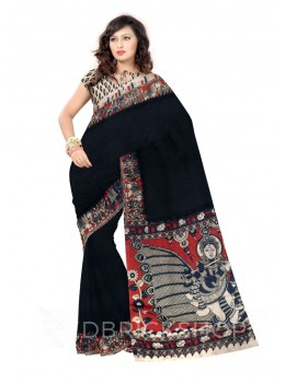 KALAMKARI PLAIN ELEPHANT MAN BLACK, RED COTTON SAREE