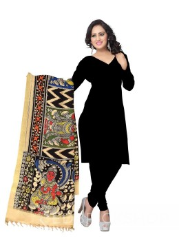 KALAMKARI (PEN) GODDESSES BLACK, YELLOW, RED COTTON DUPATTA