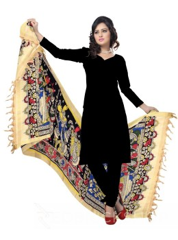 KALAMKARI (PEN) PEOPLE PALKI BLACK, YELLOW, GREEN COTTON DUPATTA