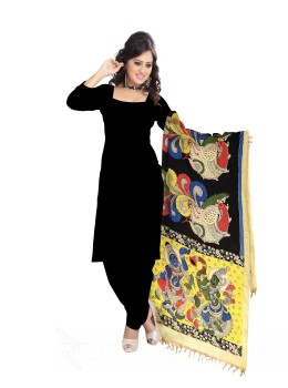 KALAMKARI (PEN) BIRD TRUMPET BLACK, CREAM, YELLOW COTTON DUPATTA