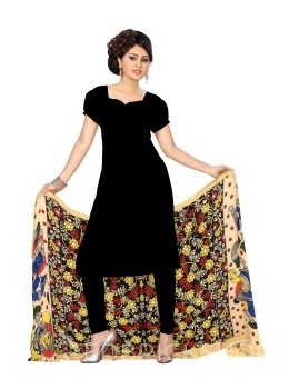 KALAMKARI (PEN) SUNFLOWER GIRL BLACK, RED, YELLOW COTTON DUPATTA