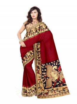 KALAMKARI PLAIN PEOPLE MAROON, BLUE, CREAM COTTON SAREE