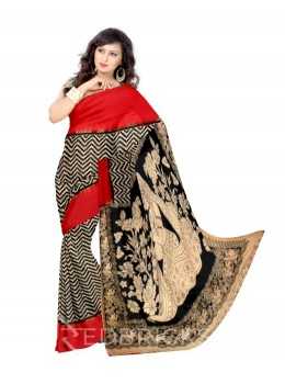 KALAMKARI ZIGZAG CREAM, BLACK, RED COTTON SAREE