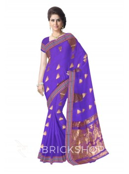 KANCHEEPURAM BROAD STRIPE TEMPLE PURPLE, GOLD COTTON SAREE