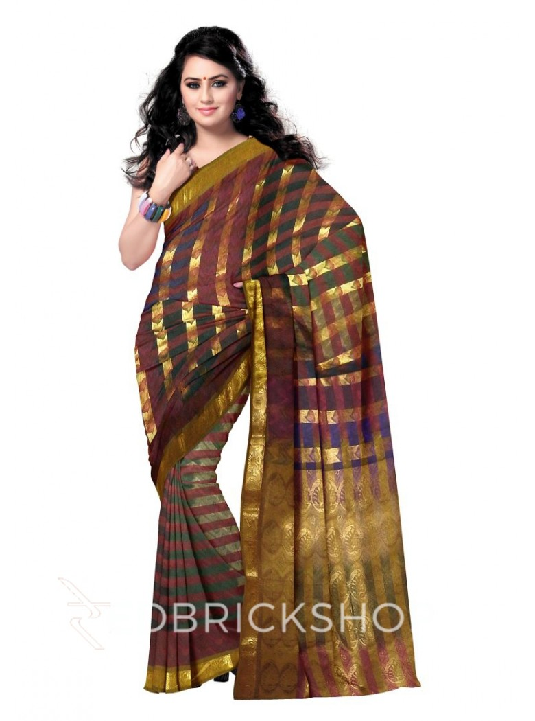 KANCHEEPURAM FULL STRIPE PAAN PINK, GREEN, BLUE, BLACK, MAROON, GOLD COTTON SAREE