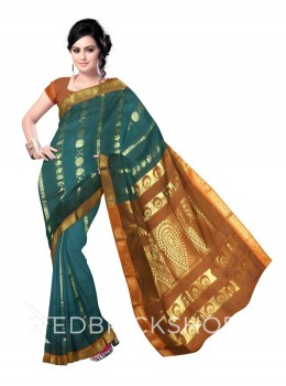 KANCHEEPURAM HORIZONTAL FLOWER CHAKRI AQUAMARINE GREEN, RUST ORANGE, GOLD COTTON SAREE