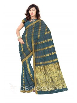 KANCHEEPURAM FULL STRIPE LEAF PAAN BEL GREEN, MAROON, BLUE, GOLD COTTON SAREE