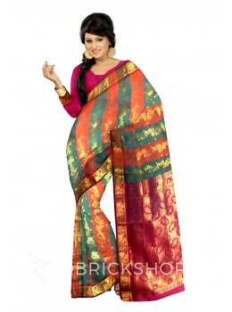 KANCHEEPURAM DHOOP CHHAON HORIZONTAL STRIPE BEL GREEN, RUST ORANGE, MAGENTA, GOLD COTTON SAREE