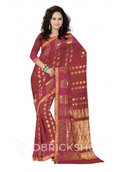 KANCHEEPURAM HORIZONTAL FLOWER PAISLEY MAROON, MAGENTA, GOLD COTTON SAREE