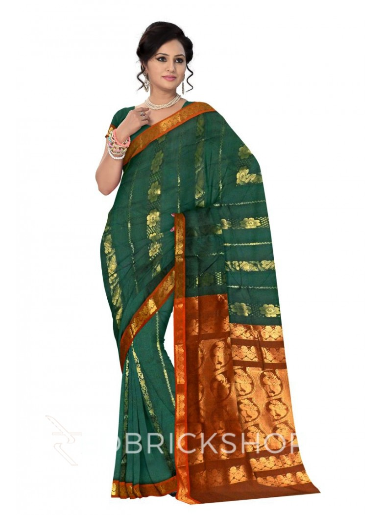 KANCHEEPURAM HORIZONTAL FLOWER FLUTE GREEN, MUSTARD YELLOW, GOLD COTTON SAREE