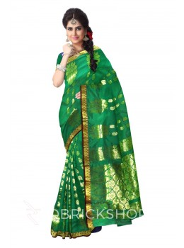 KANCHEEPURAM HORIZONTAL FLOWER PAISLEY GREEN, BROWN, GOLD COTTON SAREE