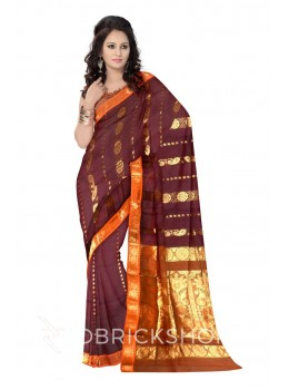 KANCHEEPURAM HORIZONTAL FLOWER BEL MAROON, RUST ORANGE, GOLD COTTON SAREE