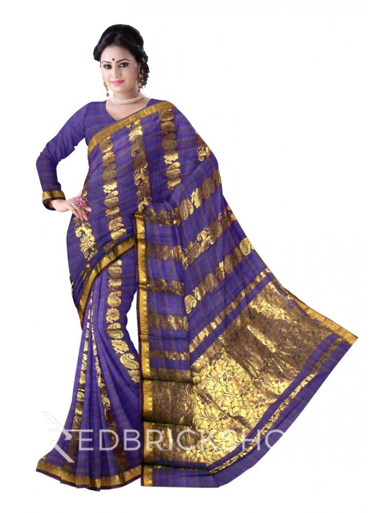 KANCHEEPURAM DHOOP CHHAON HORIZONTAL FLOWER PAISLEY BEL GREEN, BLUE, MAUVE PURPLE, GOLD COTTON SAREE