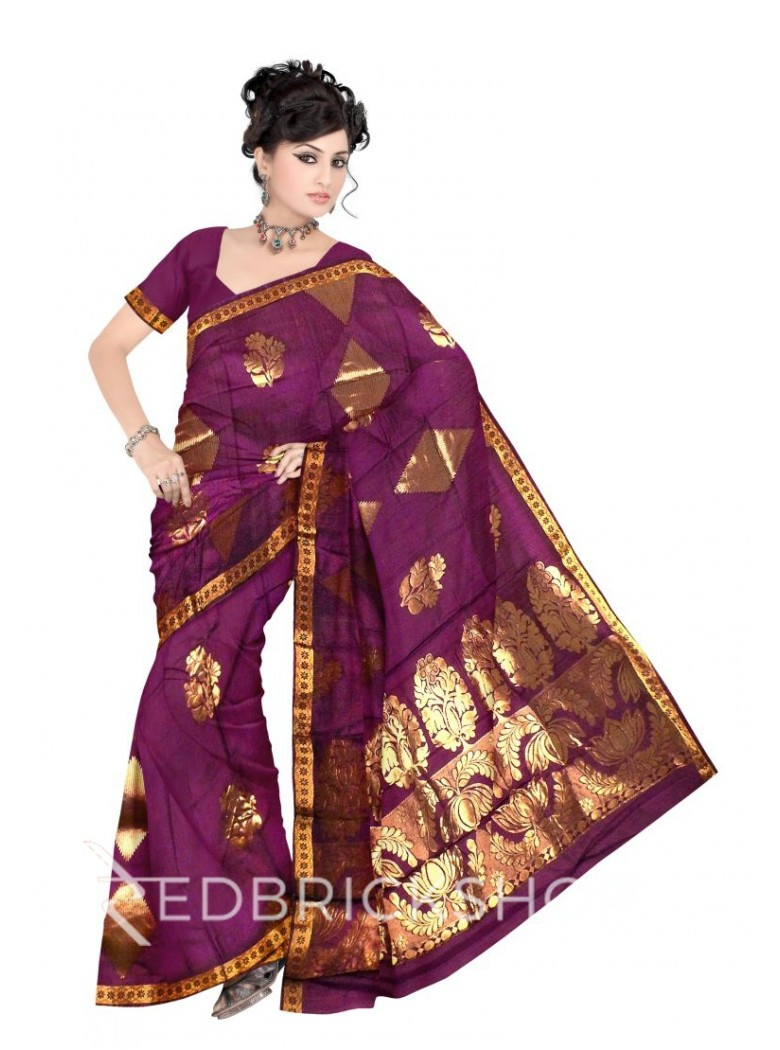 KANCHEEPURAM BIG FLOWER DIAMOND SHOT PURPLE, GOLD COTTON SAREE