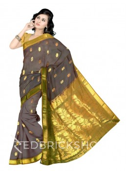 KANCHEEPURAM DHOOP CHHAON HORIZONTAL FLOWER BEL MAUVE PURPLE, GREEN, GOLD COTTON SAREE