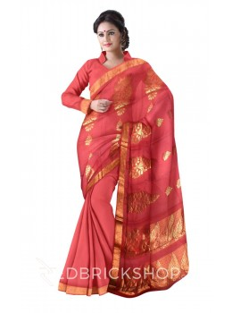 KANCHEEPURAM BIG FLOWER, ROSE PINK, GOLD COTTON SAREE