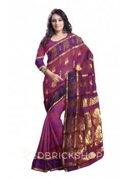 KANCHEEPURAM FULL STRIPE HORIZONTAL BIG FLOWER BEL PURPLE, MAUVE, GOLD COTTON SAREE
