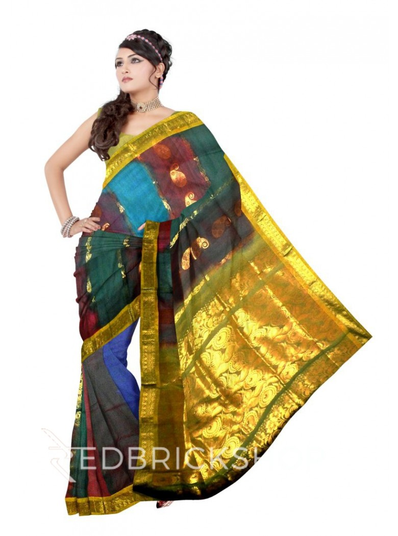 KANCHEEPURAM FULL STRIPE BIG FLOWER PAISLEY BEL PURPLE, TEAL BLUE, RED, GOLD COTTON SAREE