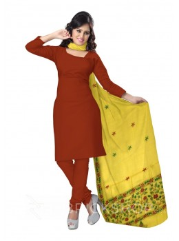 KANTHA PLAIN FLORAL BORDER YELLOW TUSSAR SILK DUPATTA