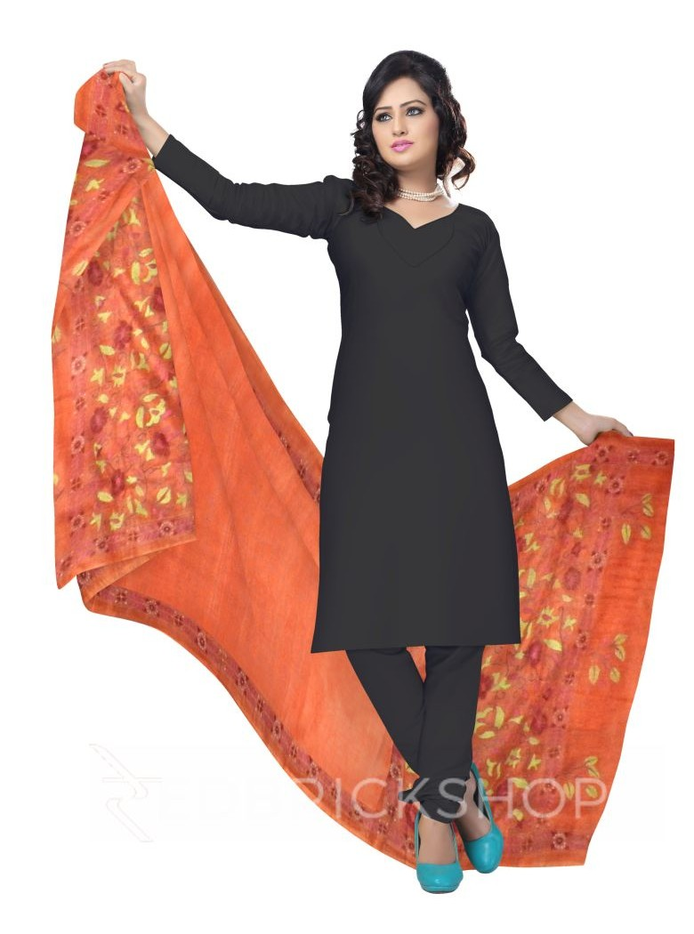 KANTHA PLAIN FLORAL BORDER ORANGE TUSSAR SILK DUPATTA