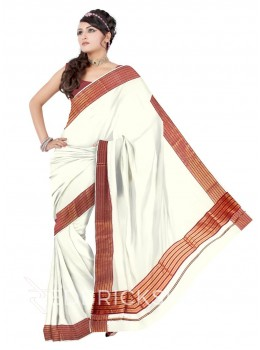 KASAVU OFF WHITE-MAROON COTTON SAREE