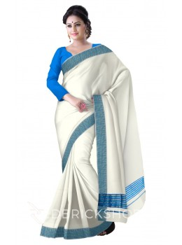 KASAVU OFF WHITE-TURQUOISE COTTON SAREE