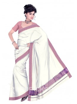 KASAVU OFF WHITE-MAUVE COTTON SAREE
