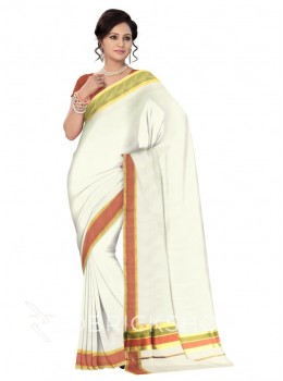 KASAVU OFF WHITE-MAROON-GREEN COTTON SAREE