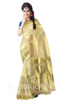 KASAVU MOSAIC GOLD COTTON SAREE