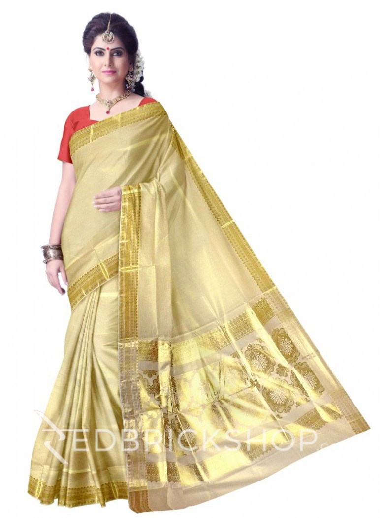 KASAVU FLORAL GOLD COTTON SAREE