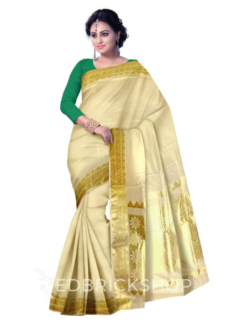 KASAVU PAAN GOLD COTTON SAREE